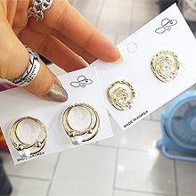 52000耳钉式, 植物花 珍珠 珠子 螺旋 圆环