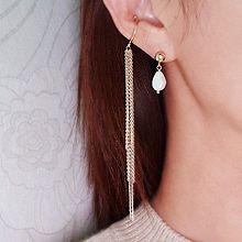 52016耳钉式, 耳夹流苏 珍珠 珠子 不对称 耳夹