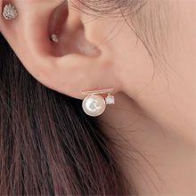 52035耳钉式长方形 圆形 珠子 珍珠 整件925银