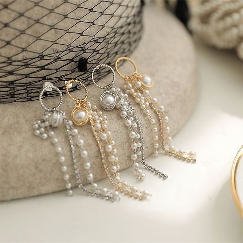 52047耳钉式珍珠 圆形 流苏 珠子