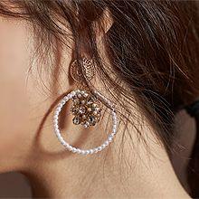 52051耳钉式, 植物珍珠 珠子 圆形 花