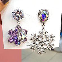 52065耳钉式, 耳圈耳扣, 植物水滴形 雪花 流苏 不对称 圣诞 长方形 珠子 珍珠