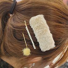 51893边夹顶夹, 天体自然现象长方形 珍珠 珠子 毛球 一字夹 BB夹 三件套 毛毛