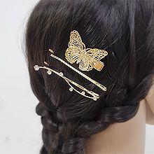 52096边夹顶夹, 动物蝴蝶 一字夹 圆形 三件套