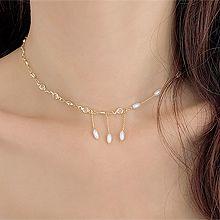 51798锁链形, 单层链珠子 流苏 椭圆形 珍珠