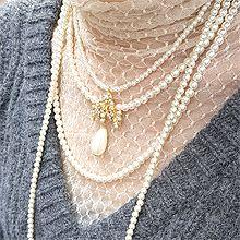 51857穿珠链, 多层链水滴形 花 四层 珍珠 珠子 长款