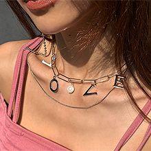 51934锁链形, 多层链, 字母数字/符号珠子 圆形 珍珠 字母love 两件套