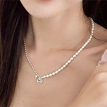 52029珠仔链, 穿珠链, 单层链, 心形, 字母数字/符号心形 字母 整件925银 天然珍珠 珠子