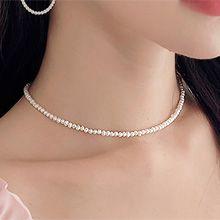52031穿珠链, 单层链天然珍珠 珠子 整件925银