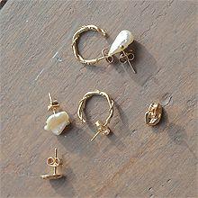 52117耳钉式C形 巴洛克珍珠 不规则形