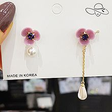 52122耳钉式, 植物花 珠子 圆形 珍珠 不对称