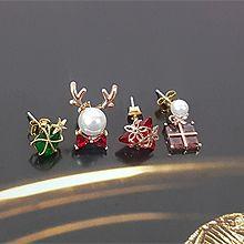 52125耳钉式, 蝴蝶结, 植物蝴蝶结 花鹿角 正方形 三角形 星星 圣诞