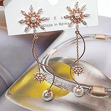 52137耳钉式雪花 珍珠 珠子 S形 圣诞