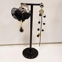 52177耳钉式, 植物花 不对称 珍珠 圆形 珠子 水滴形