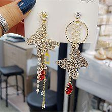 52214耳钉式, 耳圈耳扣, 耳夹, 动物蝴蝶 圆形 珠子 珍珠 不对称 水滴形