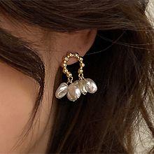 52224耳钉式C形 珍珠 珠子 流苏