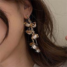52225耳钉式, 植物花 珍珠 珠子