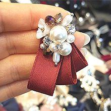 52260蝴蝶结蝴蝶结 珍珠 珠子 水滴形 胸针