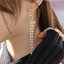 52263耳钉式珠子 珍珠 流苏 圆形 不对称 长方形