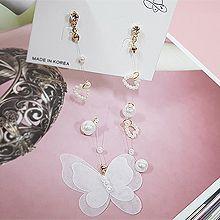 52335耳钉式, 心形, 动物心形 珍珠 珠子 圆形 蝴蝶 不对称