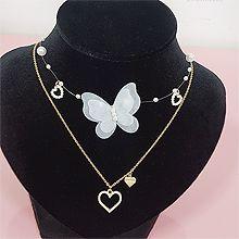 52336锁链形, 单层链, 心形, 动物心形 珍珠 珠子 圆形 蝴蝶