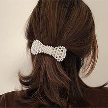 52157边夹顶夹, 蝴蝶结珍珠 圆形 珠子 弹簧夹 蝴蝶结