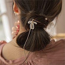 52254边夹顶夹, 蝴蝶结蝴蝶结 珍珠 珠子 流苏 一字夹 两件套