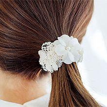52345发圈发绳, 植物花 蕾丝 圆形 珠子