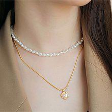 52153锁链形, 珠仔链, 多层链, 心形心形 珠子 珍珠  两件套