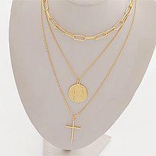 52174锁链形, 多层链, 十字架, 字母数字/符号, 植物三件套 十字架 珍珠 珠子 长方形 圆形 人 字母 数字