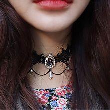 52180绳子形, 单层链水滴形 珍珠 珠子 蕾丝