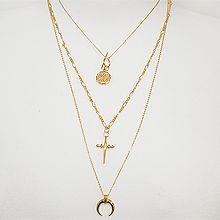 52187锁链形, 多层链, 十字架, 天体自然现象, 字母数字/符号圆形 字母 十字架 月亮 三件套