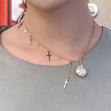 52228锁链形, 单层链, 十字架十字架 珍珠 珠子