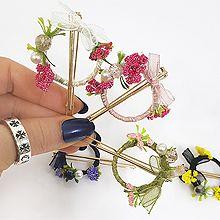 49597边夹顶夹, 蝴蝶结, 植物花 蝴蝶结 圆形 珠子