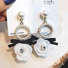 49616耳钉式, 蝴蝶结, 植物花 蝴蝶结 圆形 珠子 圆环