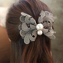 49581边夹顶夹, 蝴蝶结, 植物珠子 蝴蝶结 蕾丝 花