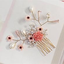 49714发梳插梳, 植物花 珠子 圆形