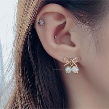 49795耳钉式, 蝴蝶结, 平面/立体几何图形蝴蝶结 圆形 珠子