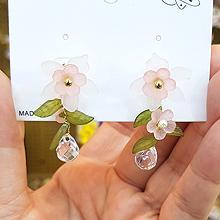 49808耳钉式, 植物花 叶子 水滴形 后挂式 珠子