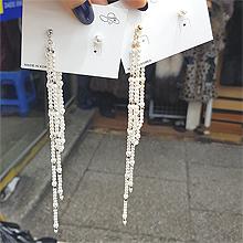 49811耳钉式流苏 不对称 后挂式 珠子 正方形