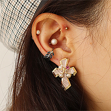 49814耳钉式, 十字架, 平面/立体几何图形十字架 圆形