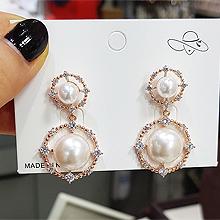 49866耳钉式, 平面/立体几何图形圆形 珠子 张熙珍 明星款