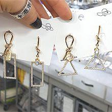 49898耳钉式打结 三角形 长方形 珠子 不对称