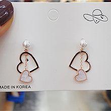 49932耳钉式, 心形, 平面/立体几何图形心形 圆形 珠子