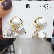 49944耳钉式珠子 菱形 天然贝壳