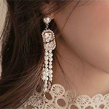 49961耳钉式, 平面/立体几何图形流苏 长方形 圆形  不对称 珠子