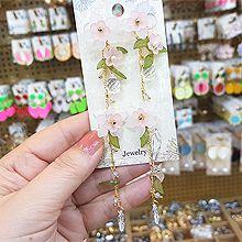 49997耳钉式, 植物花 叶子 水滴形 珠子