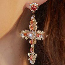 50047耳钉式, 十字架, 植物, 平面/立体几何图形十字架 花 圆形 珠子
