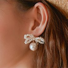 50048耳钉式, 蝴蝶结, 平面/立体几何图形蝴蝶结 圆形 珠子