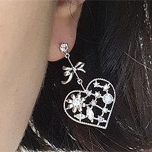 50066耳钉式, 蝴蝶结, 心形, 平面/立体几何图形心形 蝴蝶结 圆形